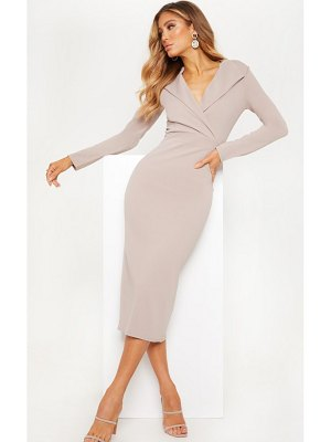 PrettyLittleThing long sleeve tux midaxi dress