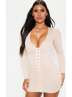 PrettyLittleThing long sleeve v plunge hook and eye bodycon dress