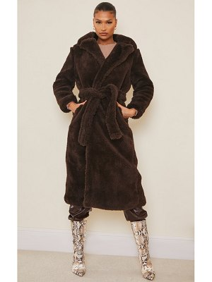 PrettyLittleThing long teddy faux fur belted coat