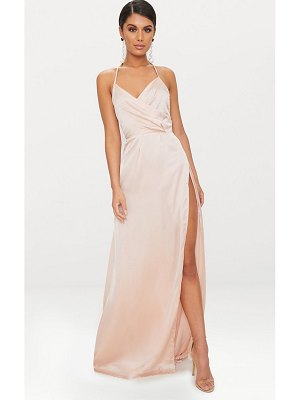 PrettyLittleThing lucie silky plunge extreme split maxi dress
