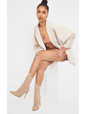 PrettyLittleThing lycra hook and eye high heel sock boots