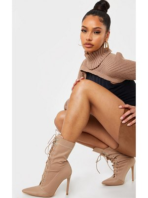PrettyLittleThing lycra lace up pointed toe sock boots