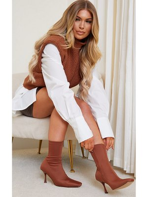 PrettyLittleThing lycra square toe mid heel sock boots