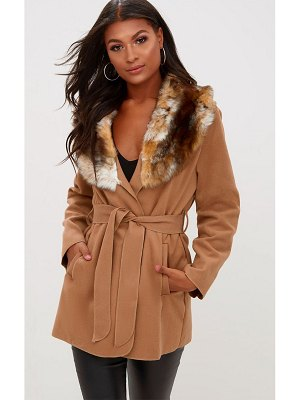 PrettyLittleThing lydia faux fur trimmed belted coat
