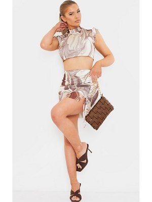 PrettyLittleThing marble print mesh ruched tie side frill hem mini skirt