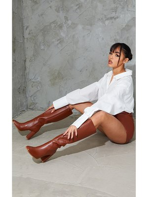 PrettyLittleThing matte pu knee high flat heeled boots