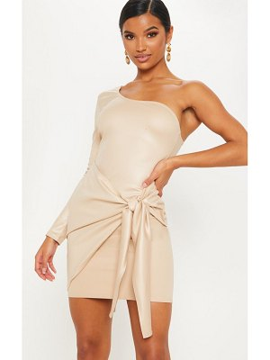 PrettyLittleThing matte pu one shoulder wrap dress
