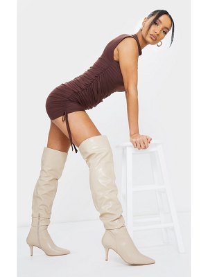 PrettyLittleThing matte pu point toe low heeled over the knee boots