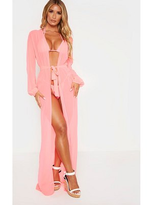 PrettyLittleThing maxi belted beach kimono