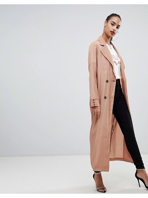 PrettyLittleThing maxi duster coat in camel