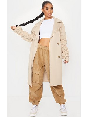 PrettyLittleThing maxi ruched sleeved trench coat