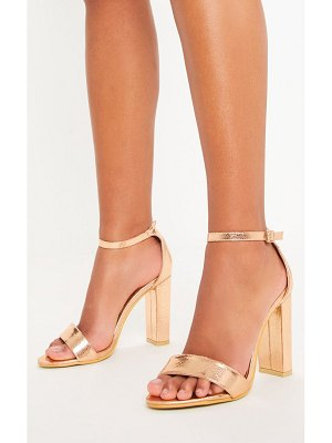 PrettyLittleThing may rose gold block heeled sandals