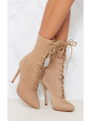 PrettyLittleThing mazy lace up sock boots