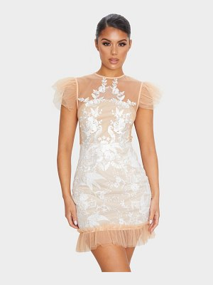 PrettyLittleThing mesh embroidered short sleeve frill detail bodycon dress