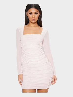 PrettyLittleThing mesh long sleeve ruched bodycon dress