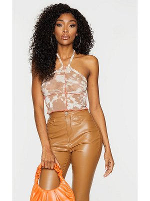 PrettyLittleThing mesh printed exposed contrast seam crop top