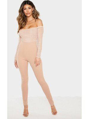 PrettyLittleThing mesh ruched bardot jumpsuit