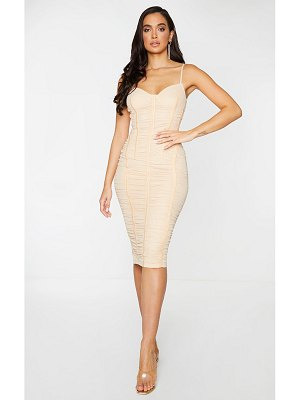 PrettyLittleThing mesh ruched binding detail strappy midi dress