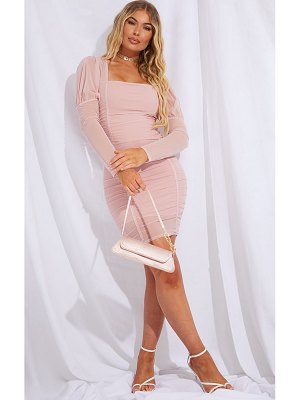 PrettyLittleThing mesh ruched bodycon dress