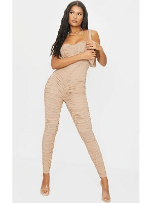 PrettyLittleThing mesh ruched cup detail jumpsuit