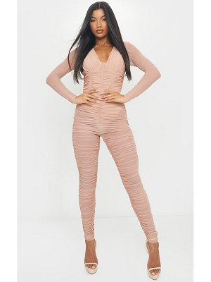 PrettyLittleThing mesh ruched cup detail long sleeve jumpsuit