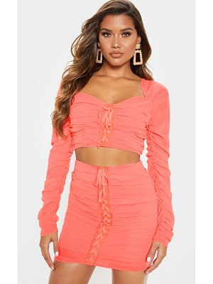 PrettyLittleThing mesh ruched detail long sleeve crop top