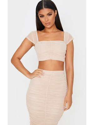 PrettyLittleThing mesh ruched front crop top