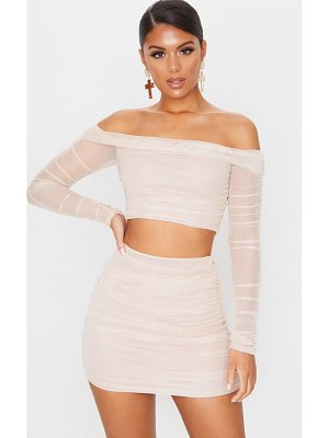PrettyLittleThing mesh ruched side skirt