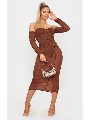 PrettyLittleThing mesh ruched velvet binded bardot midi dress