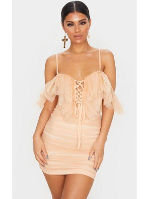 PrettyLittleThing mesh ruffle tie front bodycon dress