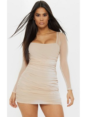 PrettyLittleThing mesh square neck ruched bodycon dress