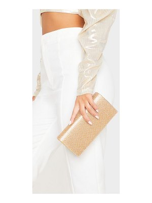 PrettyLittleThing metallic diamante clutch bag