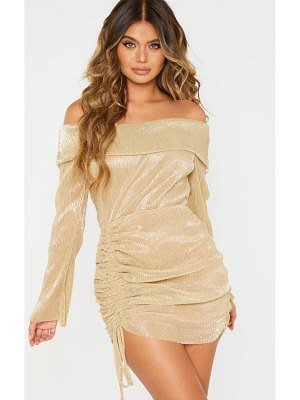 PrettyLittleThing metallic plisse bardot ruched bodycon dress