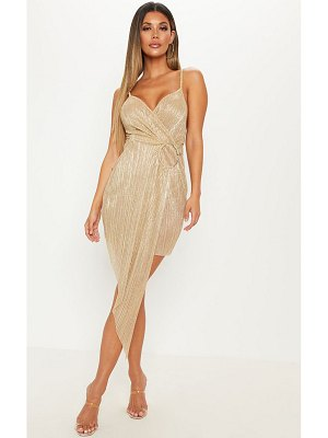 PrettyLittleThing metallic plisse ring detail drape bodycon dress