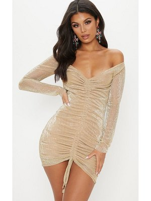 PrettyLittleThing metallic plisse ruched front bardot bodycon dress