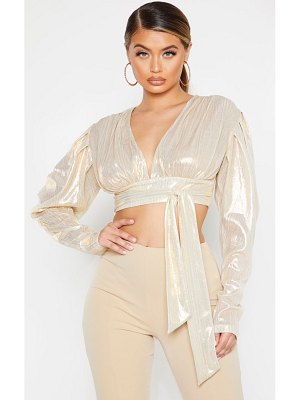 PrettyLittleThing metallic puff sleeve tie front shirt