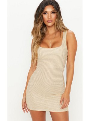 PrettyLittleThing metallic rib bodycon dress