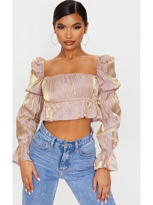 PrettyLittleThing metallic ruched waist cropped blouse