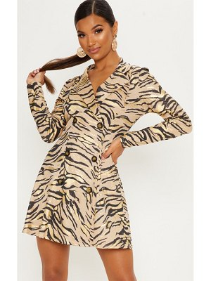 PrettyLittleThing metallic tiger print blazer dress