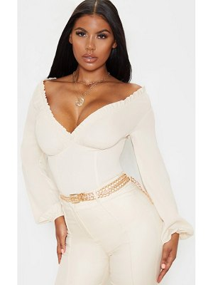 PrettyLittleThing milkmaid frill cup bodysuit