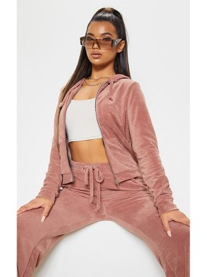 PrettyLittleThing mix & match velour zip up hoodie