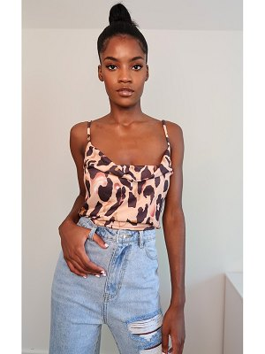 PrettyLittleThing mixed animal print slinky cowl neck cami top