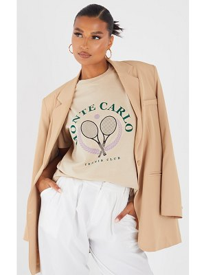 PrettyLittleThing monte carlo tennis print washed t shirt