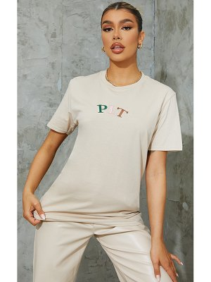 PrettyLittleThing multi embroidered t shirt