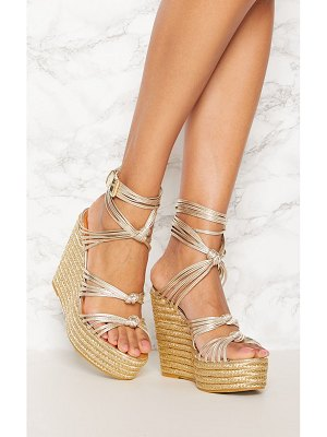 PrettyLittleThing multi strap espadrille wedge