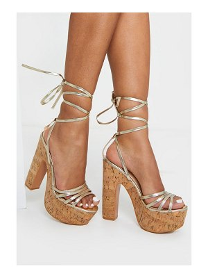 PrettyLittleThing multi strappy ankle tie cork platform heeled wedge sandals