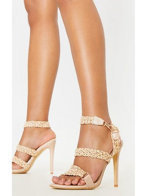 PrettyLittleThing natural buckle clasp rope strap sandal