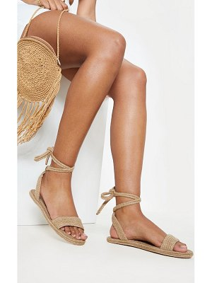 PrettyLittleThing natural espadrille lace up sandal