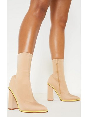 PrettyLittleThing neon contrast trim block heel sock boot