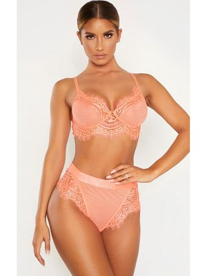 PrettyLittleThing neon coral lace and fishnet bra